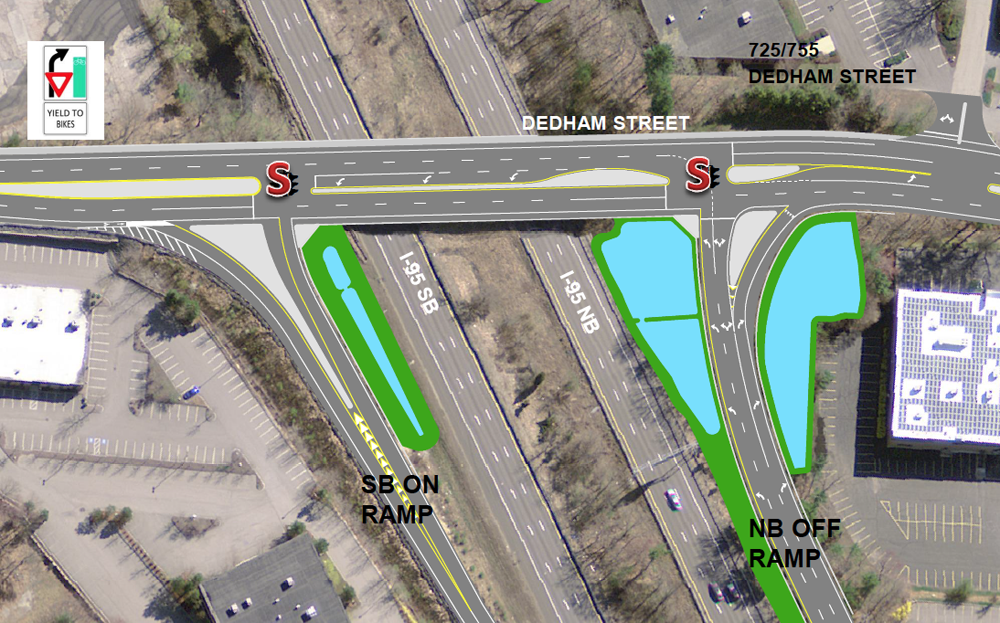 Rendering of the new I-95 off-ramp (on right) and existing I-95 on-ramp (Source: MassDOT)